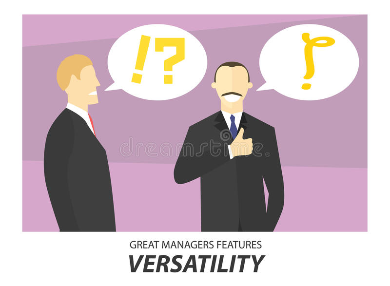 Versatility, great managers features concept illustration. Businessman making decision. Vector image, simply editable.  stock illustration