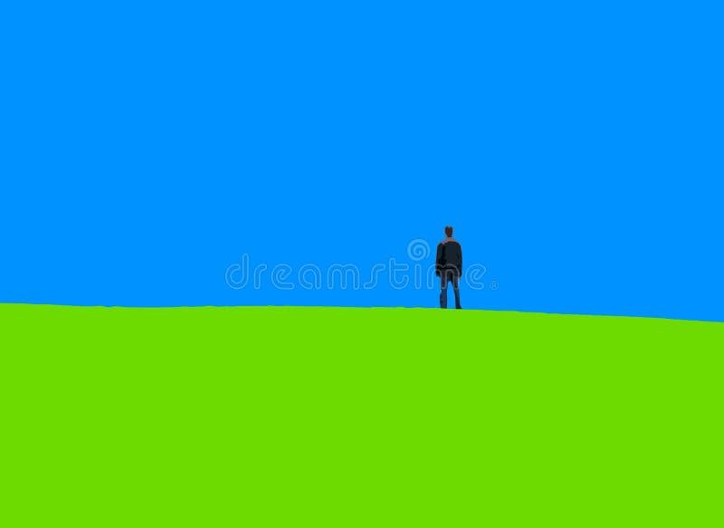 Verschönern Sie einsames grünes Gras des blauen Himmels des Mannes landschaftlich lizenzfreie abbildung