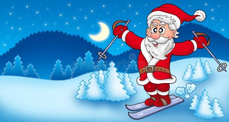 Verschönern Sie mit Ski fahrendem Weihnachtsmann landschaftlich vektor abbildung