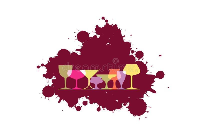 Verschütten Sie die Weinillustration lizenzfreie abbildung