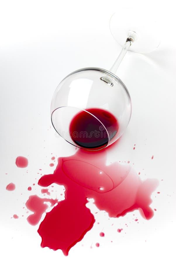 Verschütteter Rotwein stockfotos