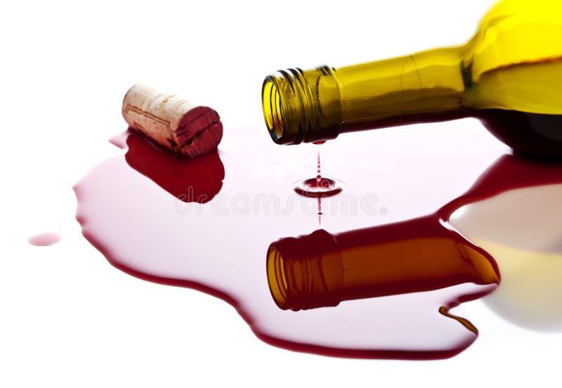 Verschütteter Wein stockbild