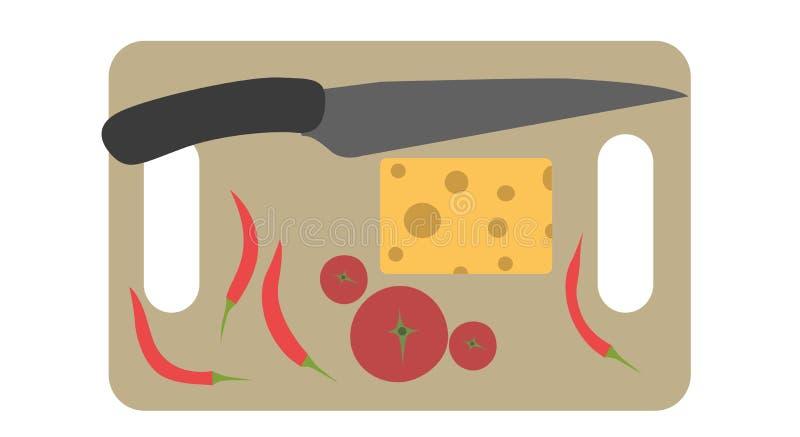 Verschalen Sie das Hacken der Ausschnittvektor-Lebensmittelküche, die hölzerne Messerillustration kocht lizenzfreie abbildung