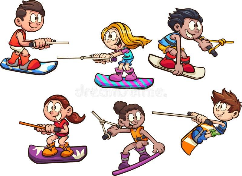 Verschalende Jungen und Mädchen der Karikaturspur stock abbildung
