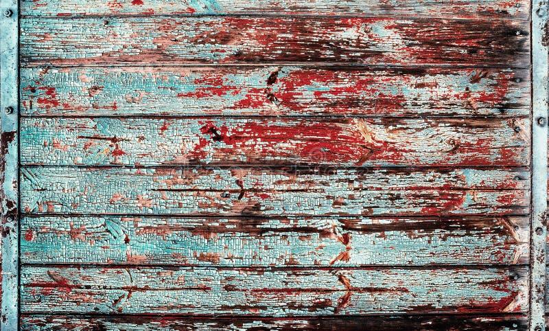 Verschalt altes Weinlesebauholz des blauen Rotes Beschaffenheitshintergrund stockfotografie