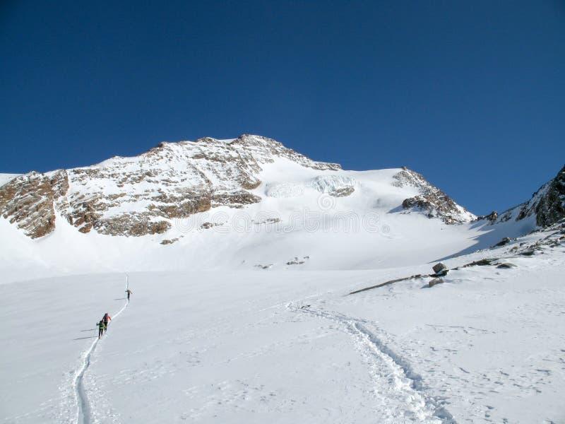 Verscheidene backcountry skiërs die een grote alpiene gletsjer op hun manier aan een verre bergpiek onder een blauwe hemel in de  stock foto