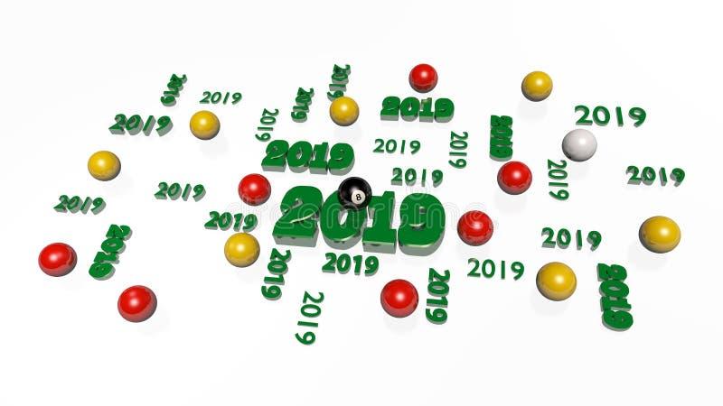Verscheidene Biljart 8 Bal 2019 Ontwerpen met Sommige Ballen vector illustratie