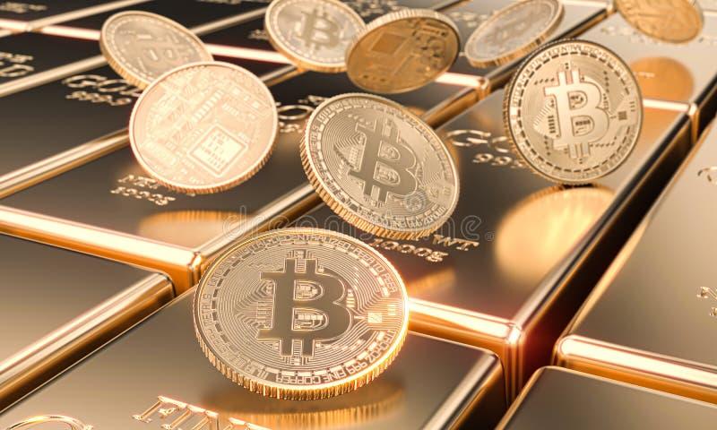 Verscheidene bitcoinstofjes op goudstaven, cryptocurrency en virtueel financiënconcept stock illustratie