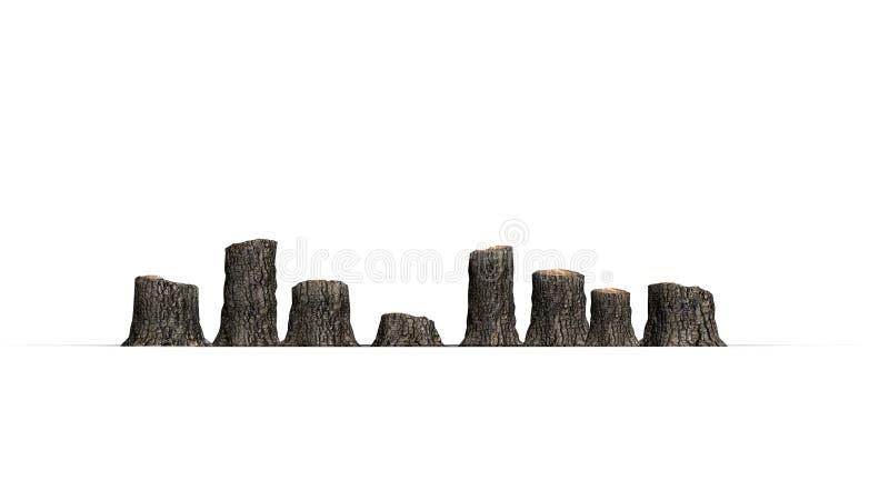 Verscheidene boomstompen in een lijn royalty-vrije illustratie