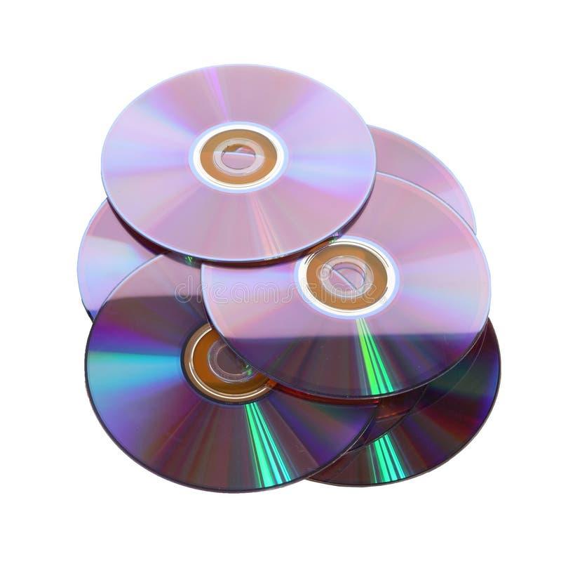 Verscheidene CDs het ten grondslag liggen aan royalty-vrije stock foto's