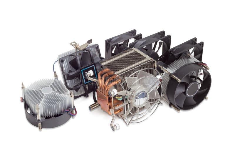 Verscheidene diverse cpu heatsinks en computerventilators royalty-vrije stock afbeeldingen