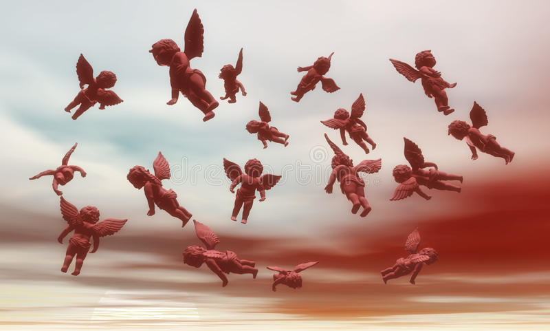 Verscheidene Engelen in hemel. royalty-vrije illustratie