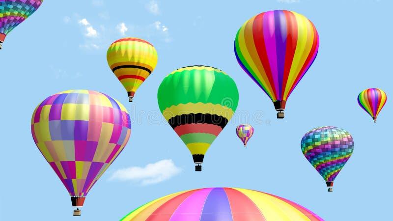 Verscheidene hete luchtballon die in de blauwe hemel vliegen stock illustratie