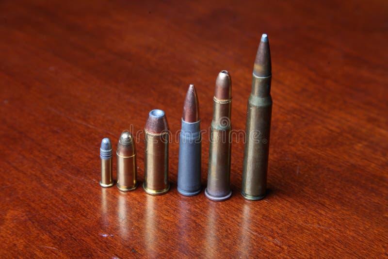 Verscheidene Kalibers van Kogels stock foto