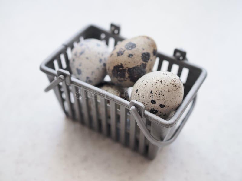 Verscheidene kleine bevlekte kwartelseieren liggen in een kleine grijze mand royalty-vrije stock afbeeldingen