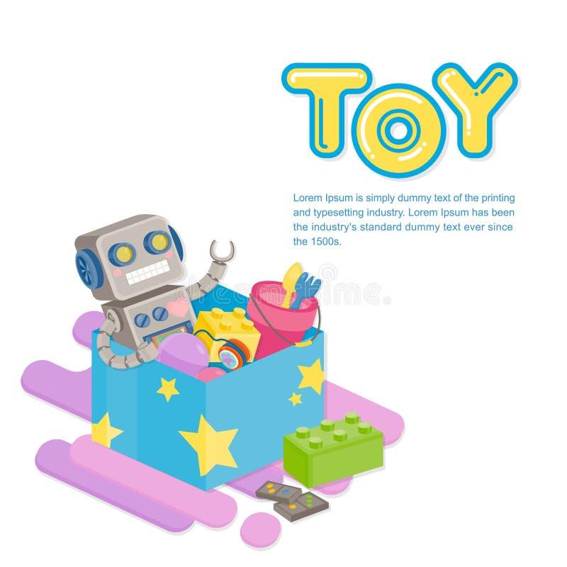 Verscheidene kleurrijk stuk speelgoed in blauwe doos op witte achtergrond Stuk speelgoed malplaatje stock illustratie