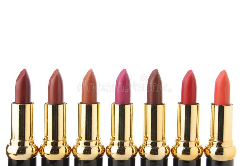 Verscheidene lippenstiften voor maken omhoog royalty-vrije stock foto's