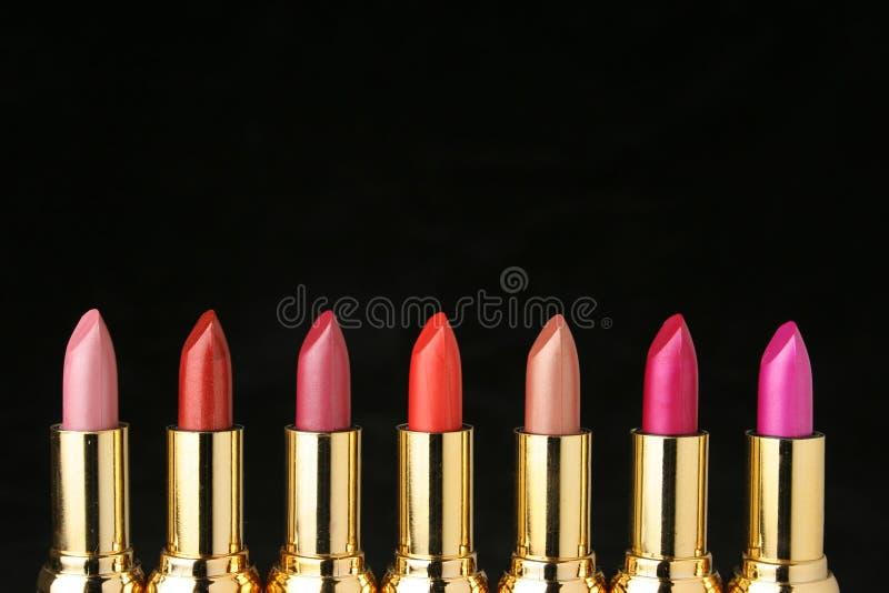 Verscheidene lippenstiften voor maken omhoog stock foto