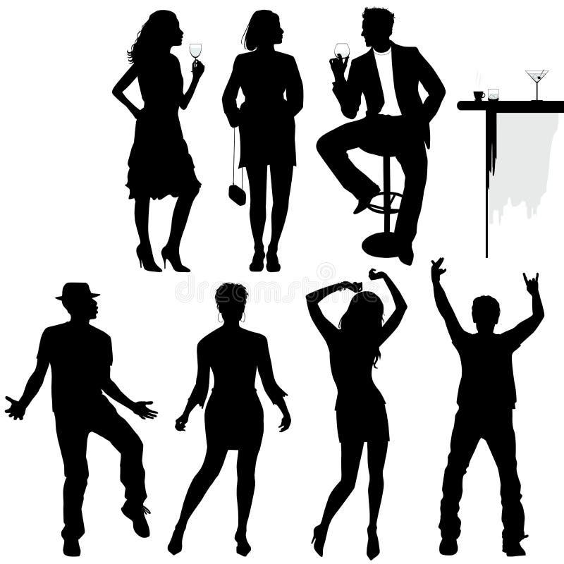 Verscheidene mensen dansen op de partij royalty-vrije illustratie