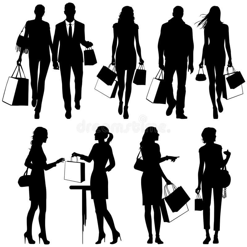 Verscheidene mensen, het winkelen - silhouetten royalty-vrije illustratie