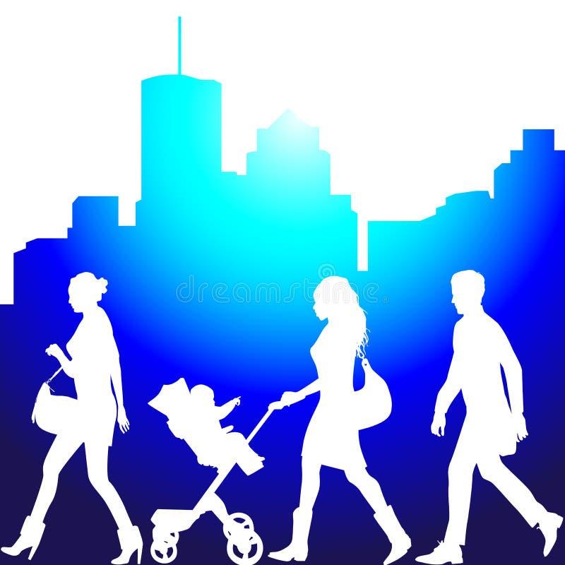 Verscheidene mensen, levende stad vector illustratie