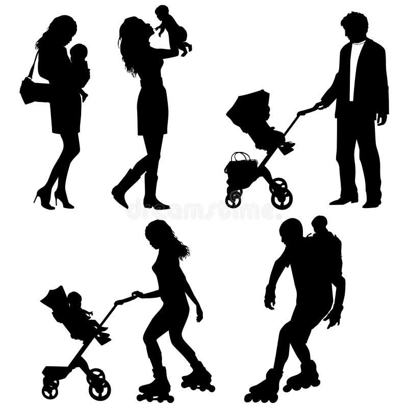 Verscheidene mensen met kinderen royalty-vrije illustratie
