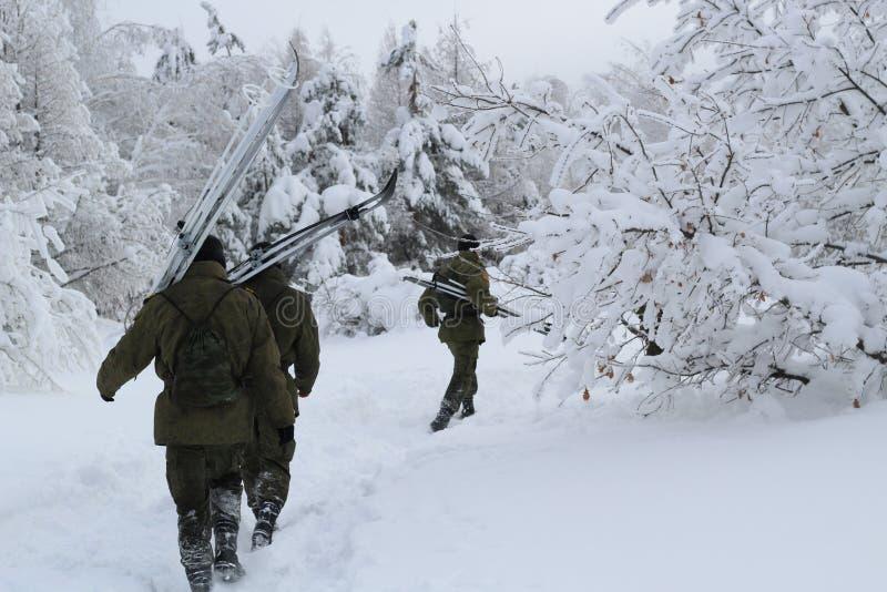 Verscheidene militaire looppas met skis in het de winterbos op een bewolkte dag stock foto