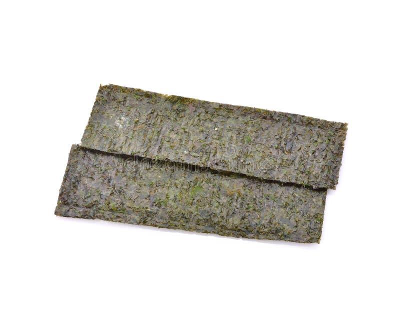 Verscheidene stroken van droge zeewierbladen die op een witte backg worden geïsoleerd stock afbeeldingen