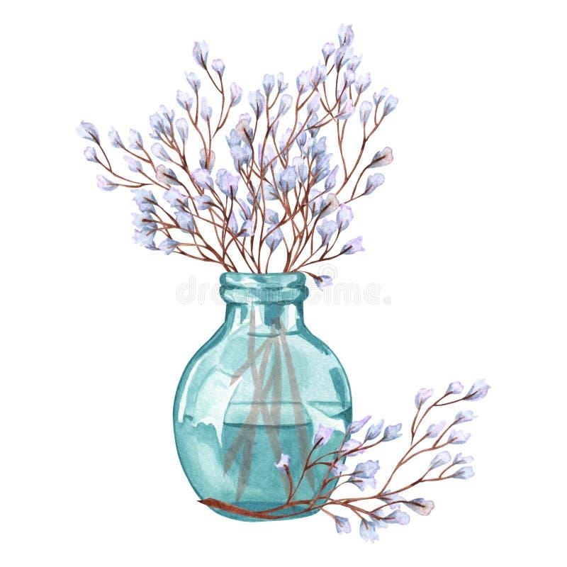 Verscheidene takjes met bloeiende takjes in een glasvaas illustratie van takje in vaas op witte achtergrond wordt geïsoleerd die vector illustratie