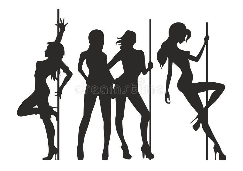 Verscheidene types van sexy de stripteasesilhouet van de vrouwenvrouw royalty-vrije illustratie