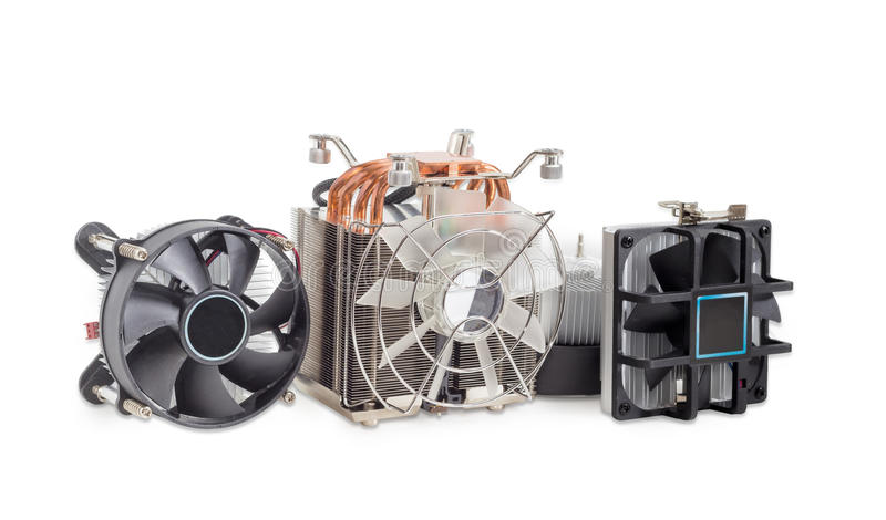 Verscheidene verschillende actieve cpu heatsinks met ventilators royalty-vrije stock foto's