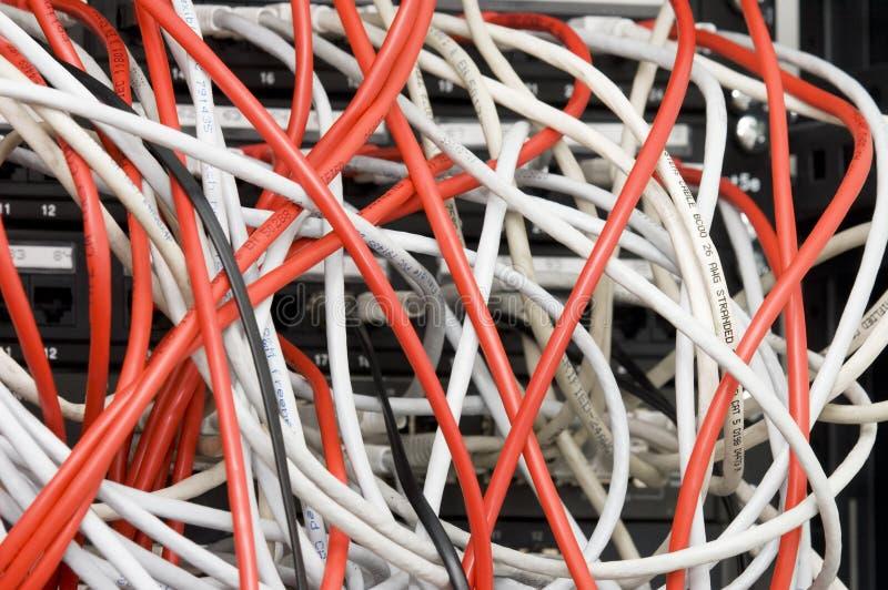 Verscheidene witte en rode kabels van computergegevens stock foto's