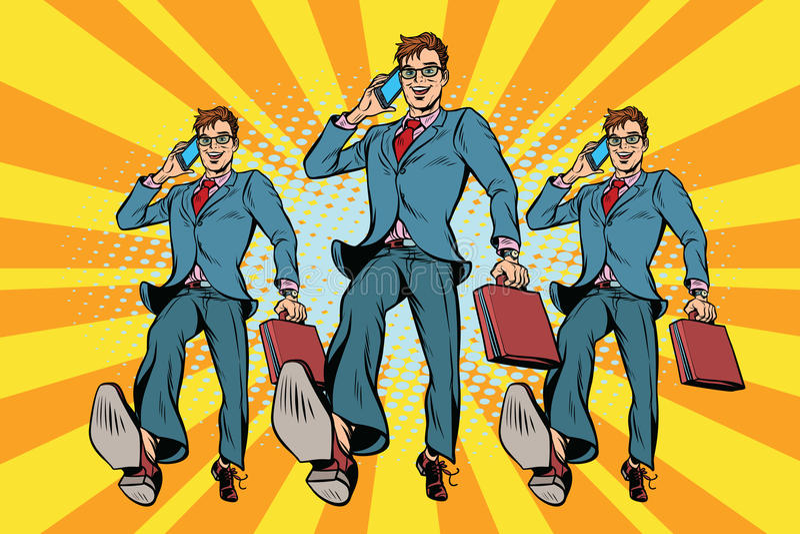 Verscheidene zakenlieden met telefoon het marcheren vector illustratie