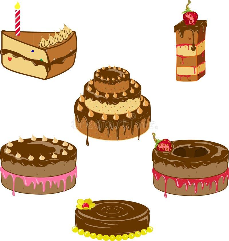 Verscheidenheid van chocoladecakes vector illustratie