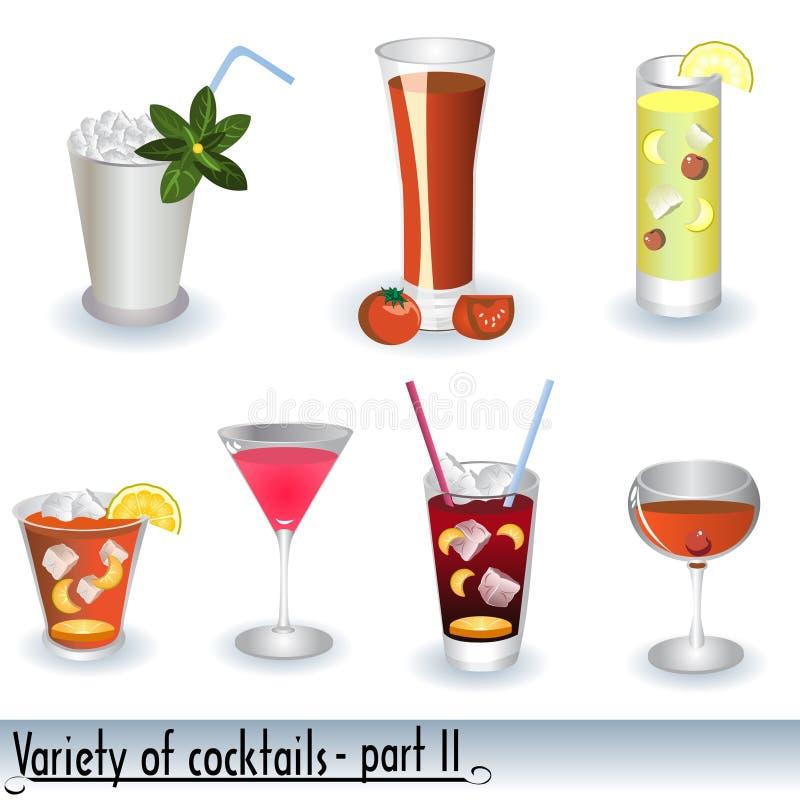 Verscheidenheid van Cocktails stock illustratie
