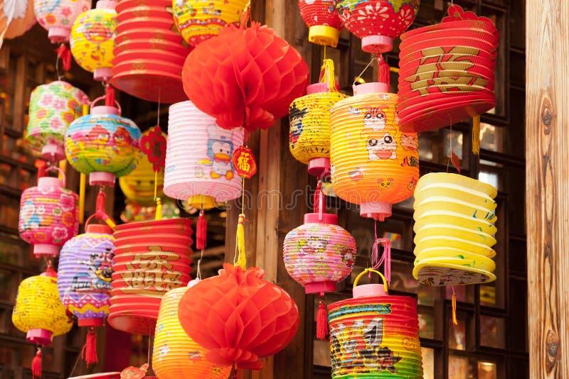 Verscheidenheid van de kleurrijke Chinese Lantaarns van het Document royalty-vrije stock afbeelding