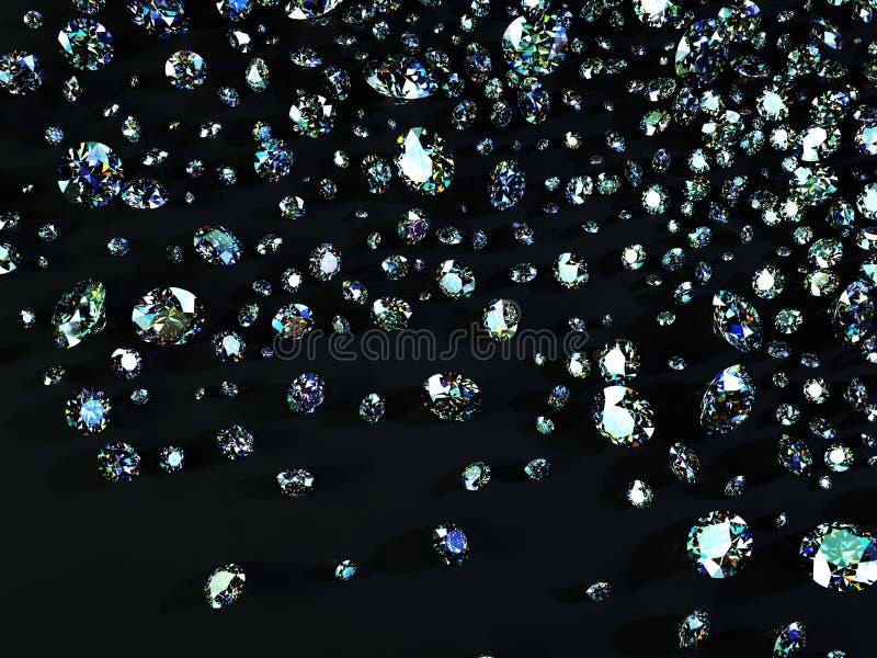 Verscheidenheid van diamanten op zwarte achtergrond stock afbeeldingen