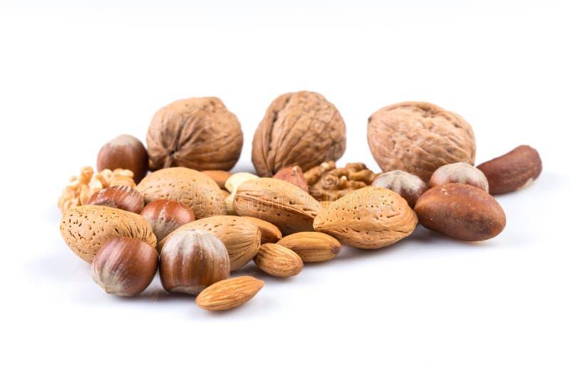 Verscheidenheid van gemengde noten stock afbeelding