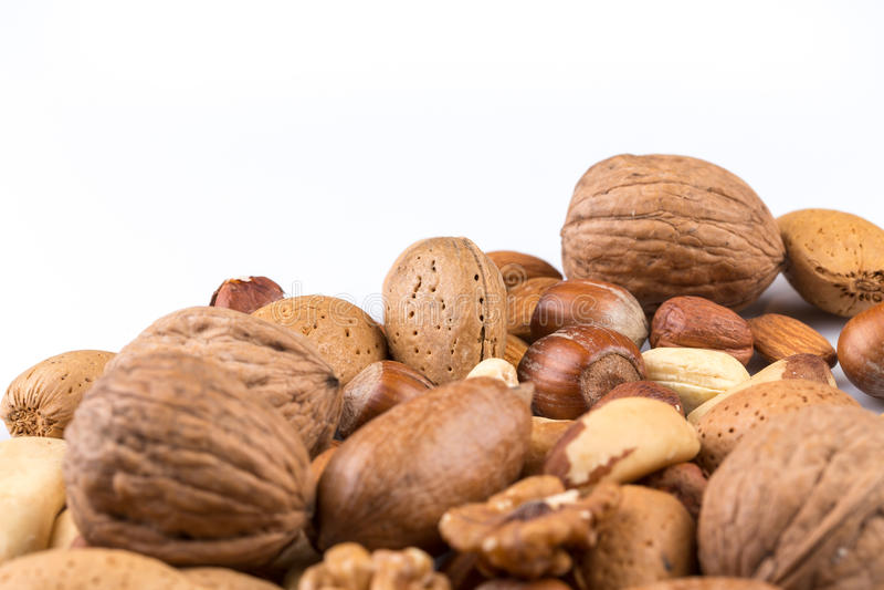 Verscheidenheid van gemengde noten stock foto's