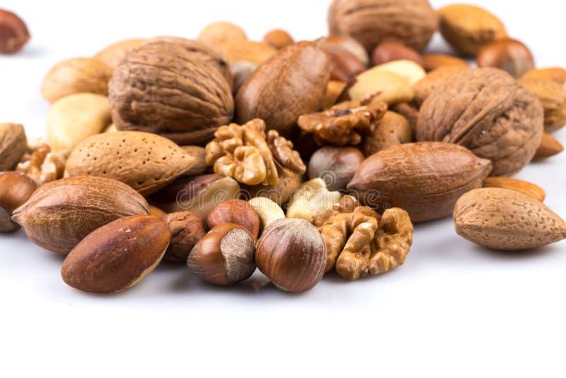 Verscheidenheid van gemengde noten stock foto
