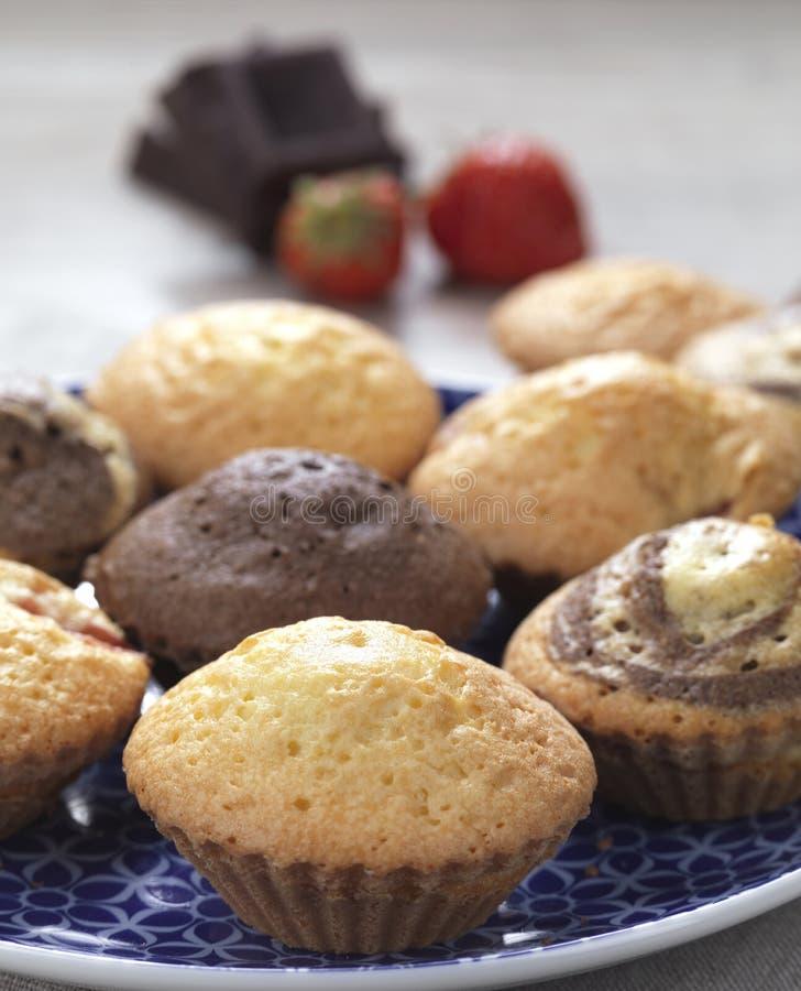 Verscheidenheid van muffins stock afbeeldingen