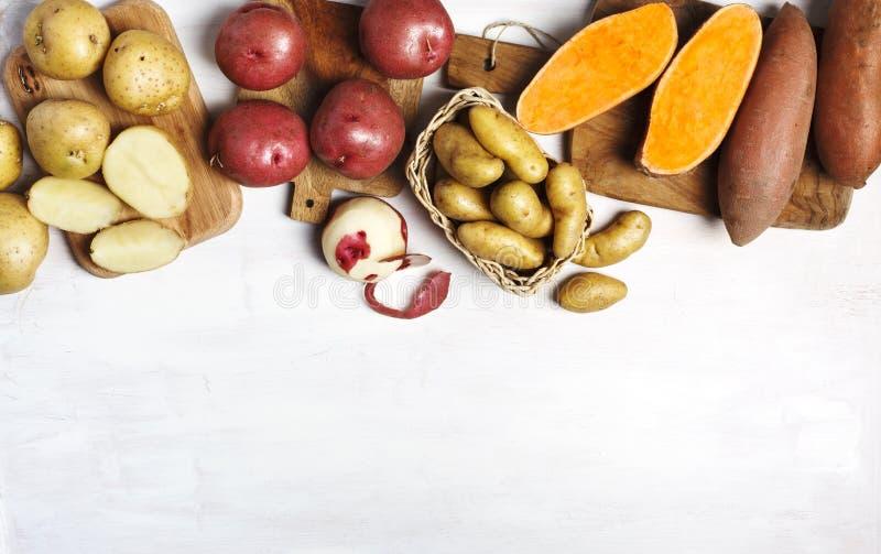 Verscheidenheid van ruwe ongekookte organische aardappels: rode, witte, zoete en vingersaardappels over witte achtergrond stock fotografie