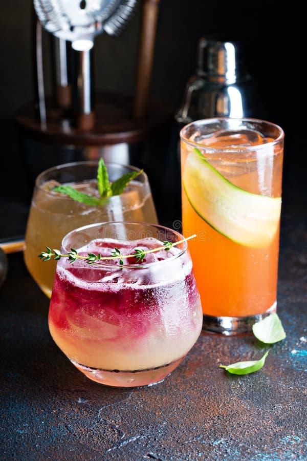 Verscheidenheid van seizoengebonden cocktails royalty-vrije stock afbeeldingen