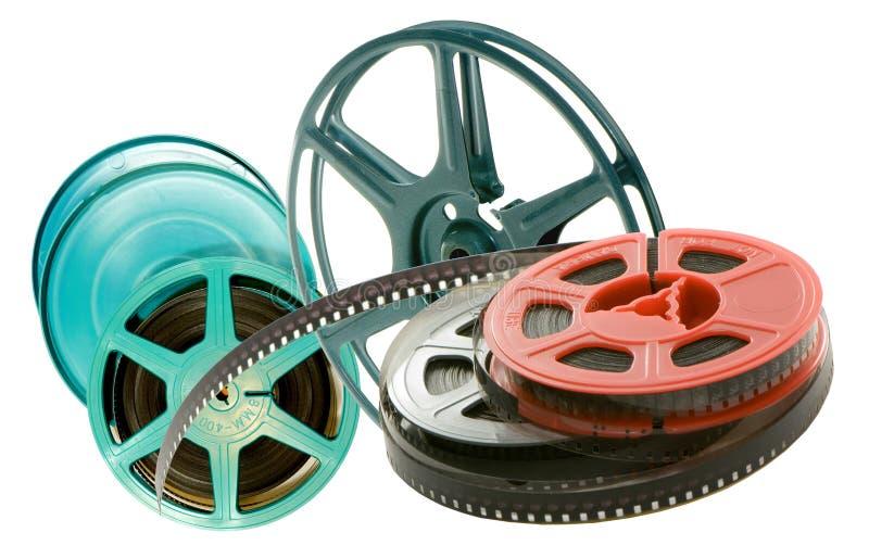 Verscheidenheid van spoelen met film royalty-vrije stock foto