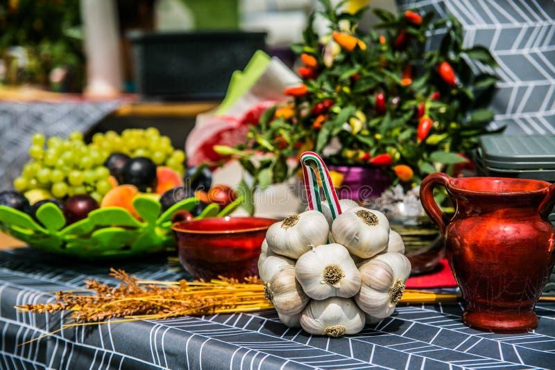 Verscheidenheid van verse organische groenten en vruchten in de tuin royalty-vrije stock afbeeldingen