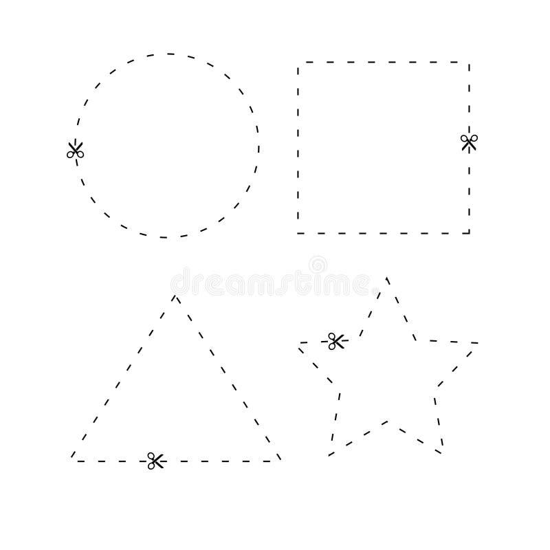 Download Verscheidenheid Van Vorm Met Scherpe Lijn Vector Illustratie - Illustratie bestaande uit pagina, schaar: 107709072