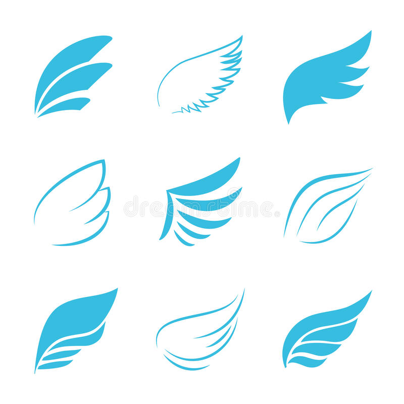 Verscheidenheid Vectorblue wings op Witte Achtergrond stock illustratie