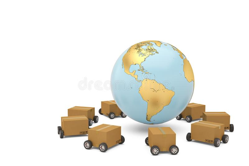 Verschepend conceptenkarton wereldwijd met 3d wielen en gouden bol stock illustratie