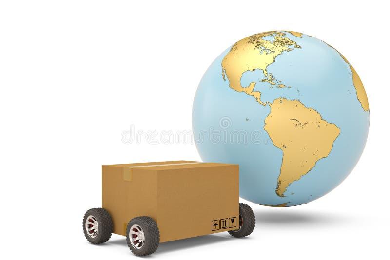 Verschepend conceptenkarton wereldwijd met 3d wielen en gouden bol royalty-vrije illustratie