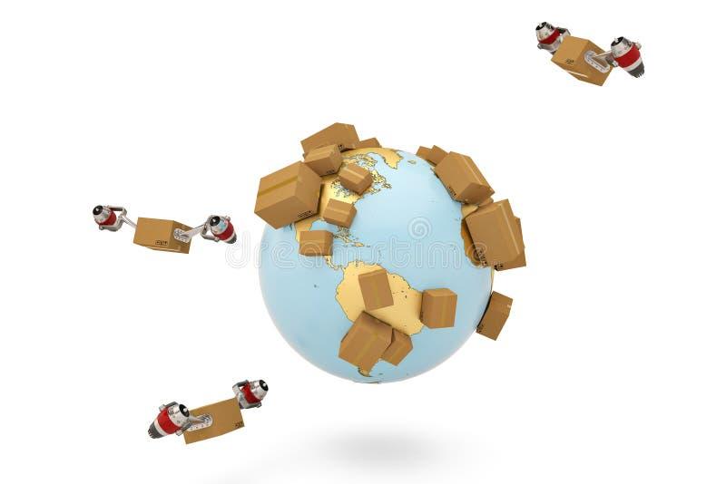 Verschepend conceptenkarton wereldwijd met straalmotor en gouden bol royalty-vrije illustratie